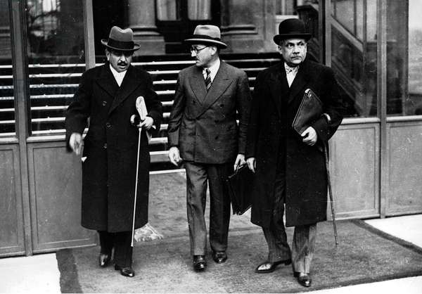 Pierre Laval with Lucien Lamoureux and Henry Lemery leaving Elysee Palace after the first ministers council july 1940 (Laval was French prime minister of the Vichy Government from july 1940 to december 1940, and again from april 1942 to august 1944)