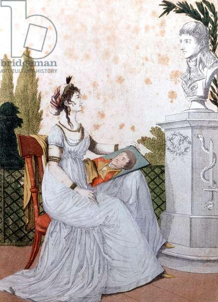 Josephine de Beauharnais drawing her husband Napoleon Bonaparte after a bust, engraving