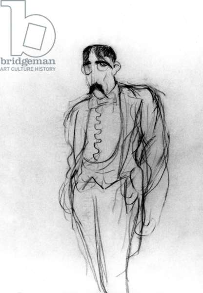 Marcel Proust (1871-1922) French novelist drawed from memory in 1938