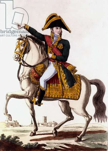 Karl Philipp Von Schwarzenberg (1771-1820) austrian officer who faught against French emperor Napoleon1st in 1813, during Germany campaign, engraving