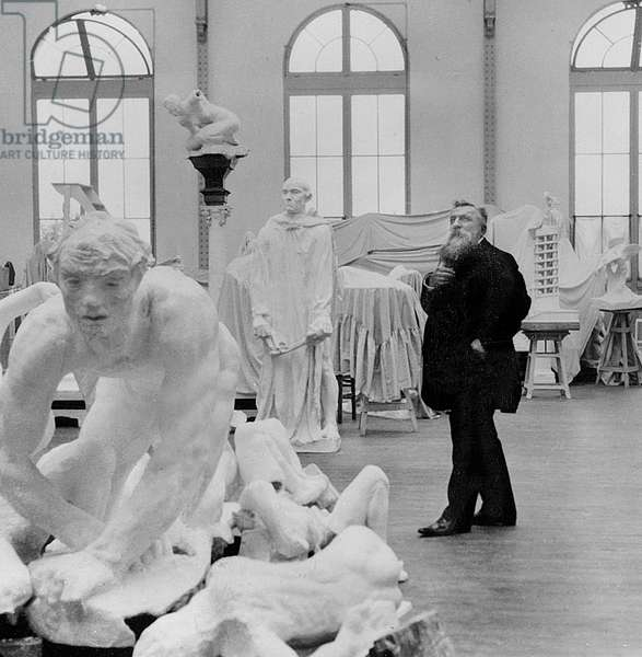 French sculptor Auguste Rodin (1840-1917) in his workshop in Meudon c. 1910