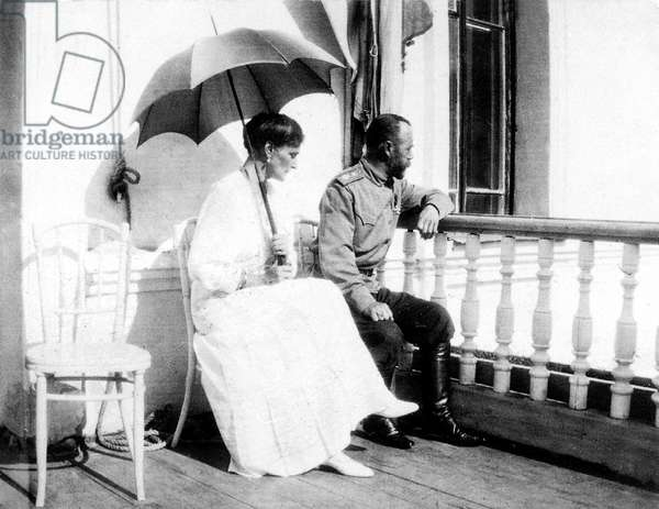 czar Nicolas II and his wife czarina Alexandra Fedorovna in Tobolsk september 1917