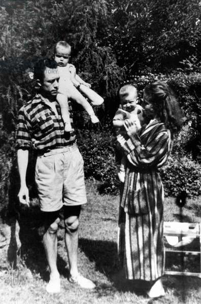 French writer Albert Camus with his wife Francine Faure and children (twins) Jean and Catherine in 1946