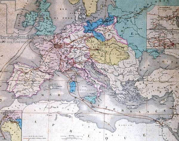 Map of Napoleon 1er's expeditions  in Europe and North Africa between 1796 and 1814