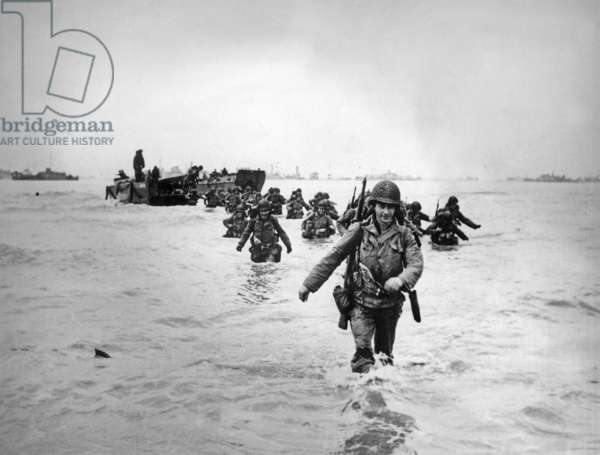Normandy Landings, june 6, 1944 : american troops of the 4th Infantry Division landing on Utah Beach