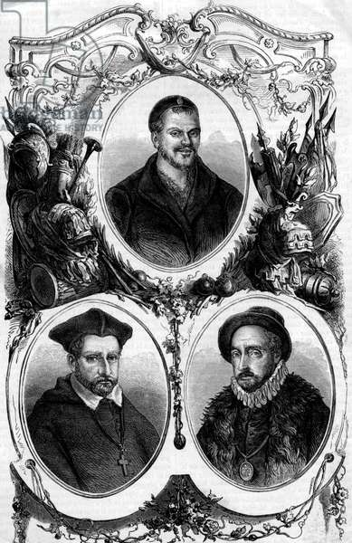 Francois Rabelais (1494-1553), Jacques Amyot (1513-1593) and Michel de Montaigne (1533-1592) French writers, philisophers, engraving