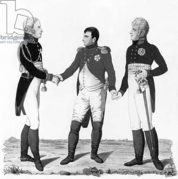 Meeting between French emperor Napoleon 1st, emperor Alexandre 1st of Russia and king of Prussia Frederic-Guillaume III in Tilsitt on june 26, 1807 to conclude peace, german engraving, 19th century