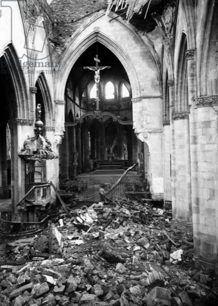 St Lo, Normandy, France : the church destroyed after Allies bombings in july 1944