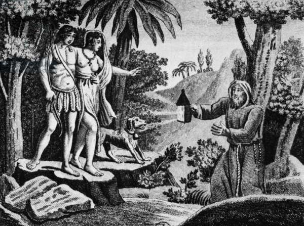 Illustration for novel Atala by Francois Rene Chateaubriand (1801) : Atala and Chactas, lost in desert, found by Father Aubry, engraving