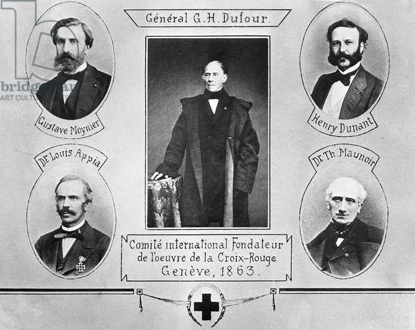 international comitee founders of the Red Cross in geneva, 1863. General Dufour Gustave Moynier Louis Appia, Jean henri Dunant and doctor Maunoir