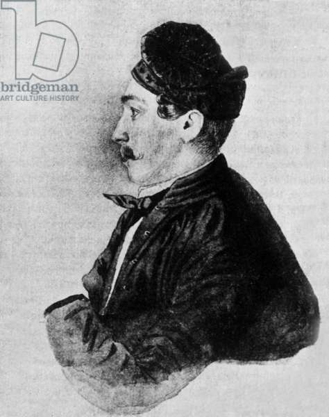 Nicolas Martynov (1815-1875) russian officer who killed Mikhail Lermontov in a duel, dessin