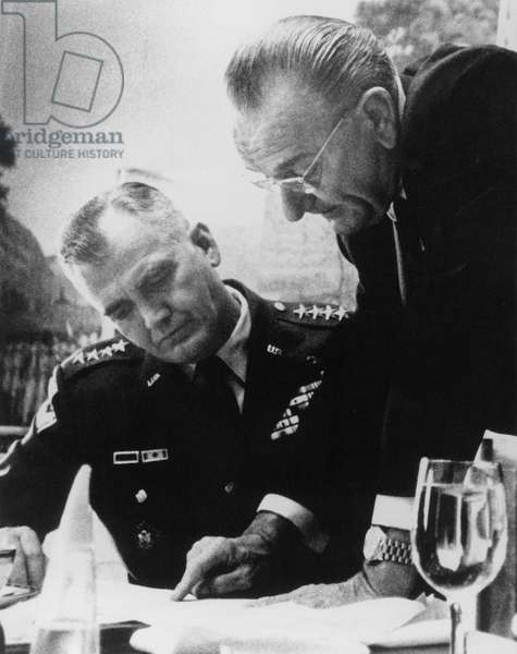 American president Lyndon B. Johnson and general William Westmoreland commander of american forces in Vietnam discussing preparations for possible peace talks with representatives of Hanoi at the White House april 6, 1968 at the time of war in Vietnam