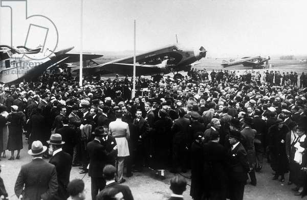 On october 7, 1933, French airline Air France is formed, here at Bourget Airport, Paris, president of airline Ernest Roume making a speech