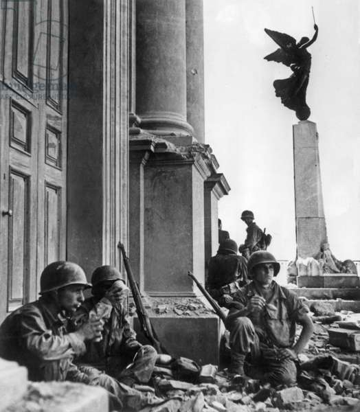 American Soldiers in Troina, Sicily, After Operation Husky, August 1943 (b/w photo)