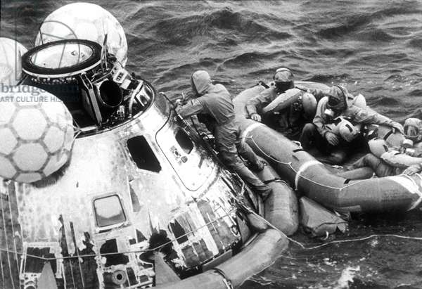 "Neil Armstrong, Michael Collins, Edwin ""Buzz"" Aldrin are going to leave quarantine after come back of Apollo 11 mission 1969"