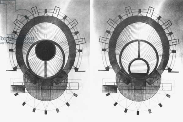 Plan of a theatre showing possible moving of the stage, 1927 (litho)