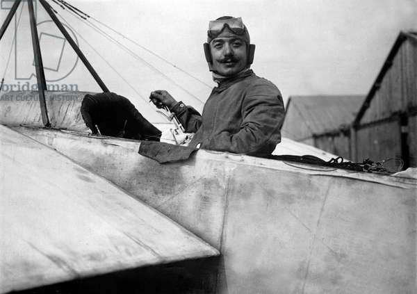 Ace aerobatics French pilot Adolphe Pegoud (1888-1915) at Brooklands race- track. September 1913, during a visit to England