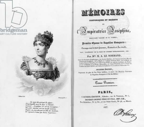 Frontispiece of book by Marie-Anne Le Normand about empress Josephine