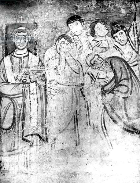 pope Leo IV (pontificate in 847-855) and the apostles, fresco of St-Clement basilica in Rome religion bible Nouveau Testament New Testament evangile gospel