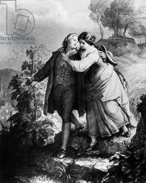 """Illustration of play """"Hermann and Dorothee"""" by Johann Wolfgang von Goethe (1798), engraving"""