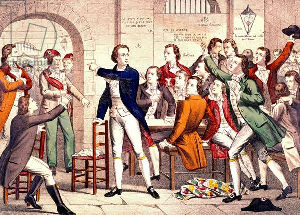 The Girondists in Prison (coloured engraving)