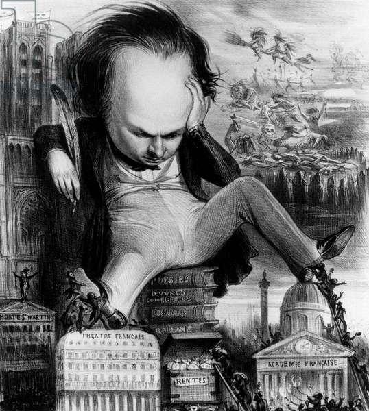 Victor Hugo (1802-1885) French romantic poet and novelist, caricature by Benjamin en 1841, engraving