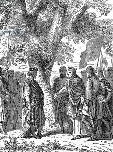 Meeting of king of England Henry II Plantagenet with Philip II Augustus in Gisors in 1188 for the Third Crusade, engraving