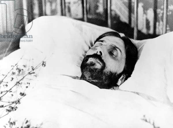 Marcel Proust (1871-1922) French novelist on his death-bed in 1922