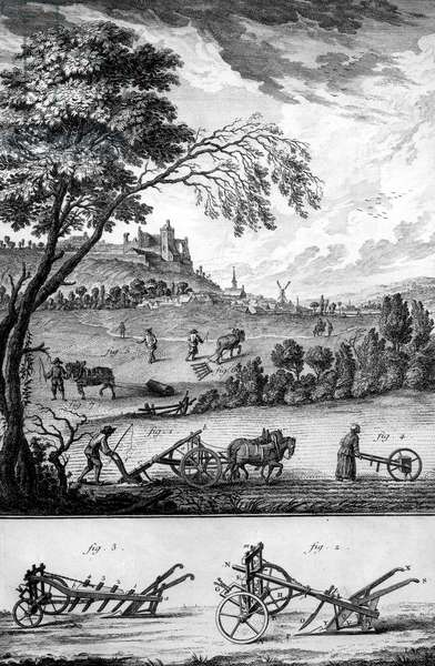 Ploughing, Engraving from Encyclopedia par Diderot and d'Alembert, c. 1750 - 1790