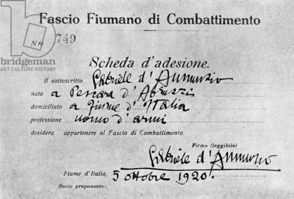 "Card of member of Fascio Fiumano di Combattimento (""Italian League of Combat"") of writer Gabriele d'Annunzio, october 5, 1920"