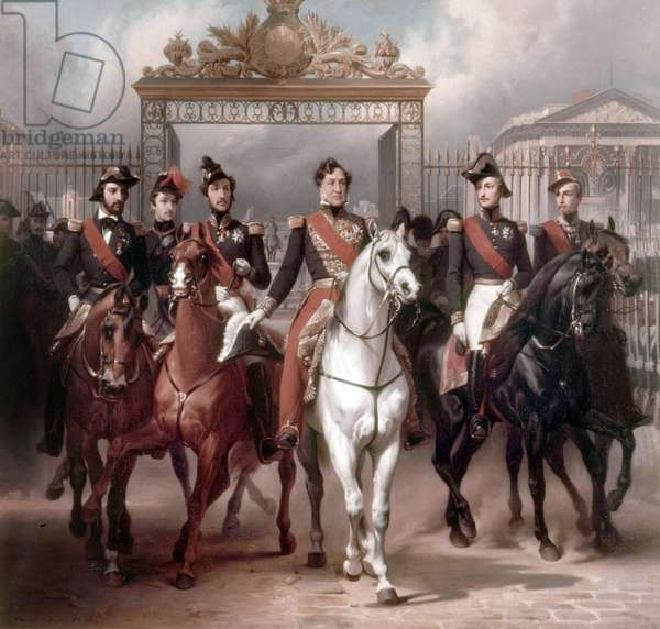 French king Louis-Philippe ans his 5 sons leaving Versailles castle after military reView, june 10, 1837, painting by Horace Vernet, 1846