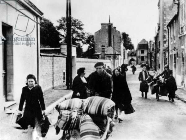 on the Normandy front in France : exodus of the inhabitants of Caen june 1944, before the battle between Allies and german