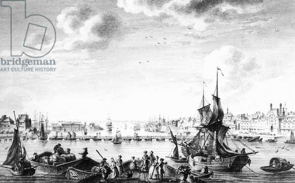 View of the harbour in Rouen, Normandy, France, 18th century, engraving by Le Gouaz