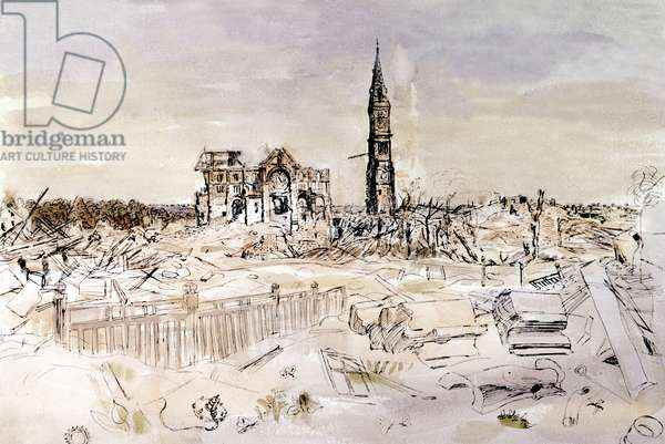 View of the village Aunay sur Odon in Normandy , France after the Liberation, drawing by Gross