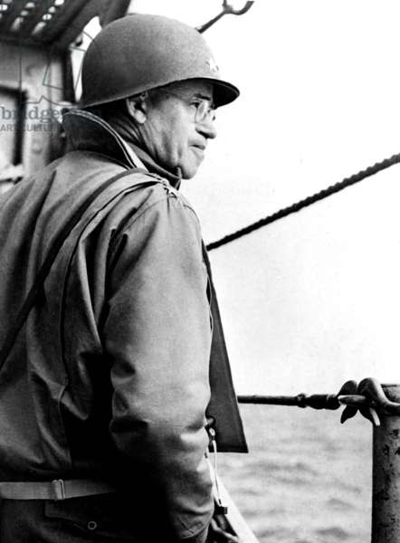 American general Omar Bradley on the cruiser USS Augusta his headquarter for operation Overlord for the D-Day invasion Normandy Landings in France june 06, 1944