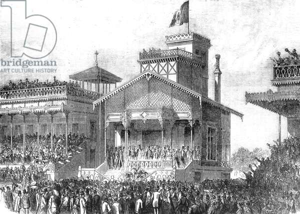 Longchamp horse race june 1870 : the president's stand the day of the Grand Prix , engraving