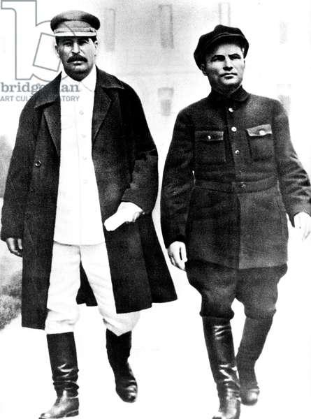 Stalin (1879-1953) and his lieutenant Sergey Mironovich Kirov c. 1930