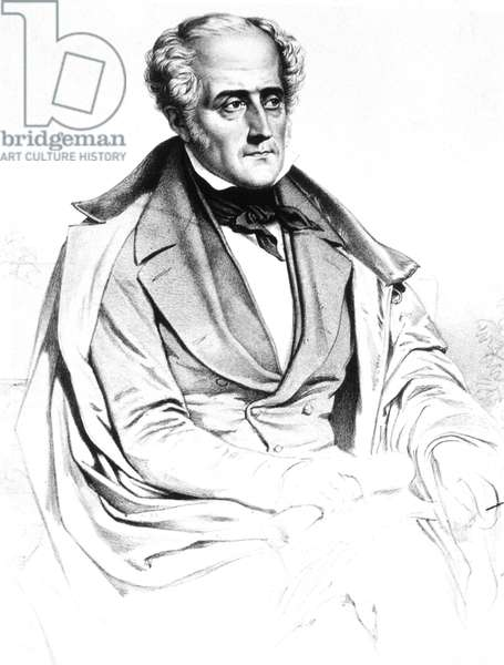 Francois Rene de Chateaubriand (1768-1848) French writer, 1848, engraving