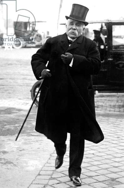 French politician Georges Clemenceau arriving at Deputees Chamber in 1910
