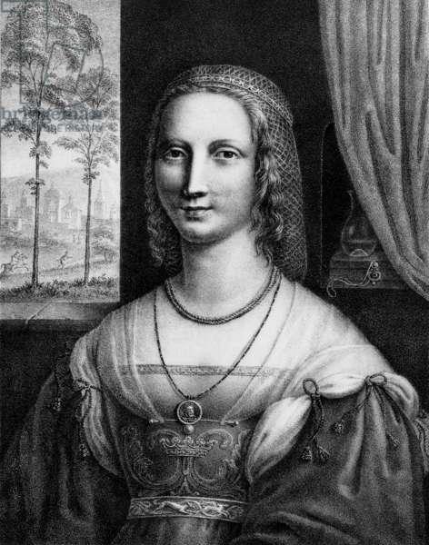 Diane de Poitiers (1499-1566) Mistress of king Henry II of France, engraving by Durand Ducos after Leonardo da Vinci