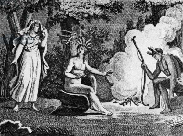 Illustration for novel Atala by Francois Rene Chateaubriand (1801) : Atala visiting Chactas, engraving