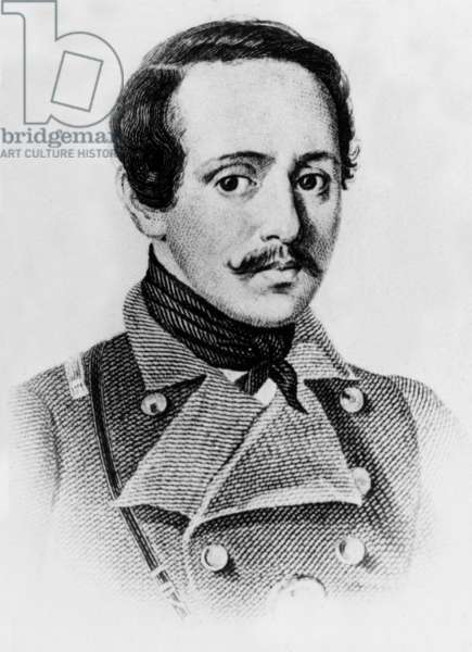 Russian writer and poet Mikhail Yurevich Lermontov (1814-1841) engraving