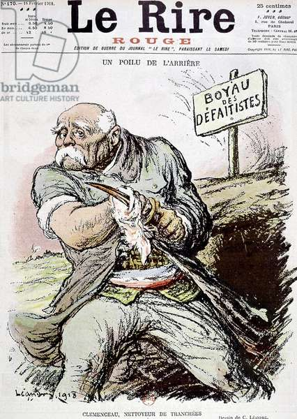 """Georges Clemenceau (1841-1929) French politician, cartoon by Leandre showing him as the cleaner of the trenches, published in paper """"Le Rire"""" february 16n 1918"""