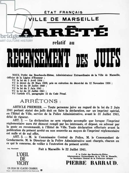 decree about census of jews in Marseille (France) in july 1941, documentary by ClaudeChabrol about Vichy government propaganda (1992)