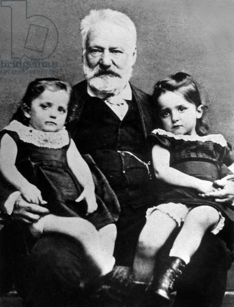 French author Victor Hugo with his grandchildren Georges (1868-1925) et Jeanne (1869-1941), CharlesHugo's children, here c. 1871