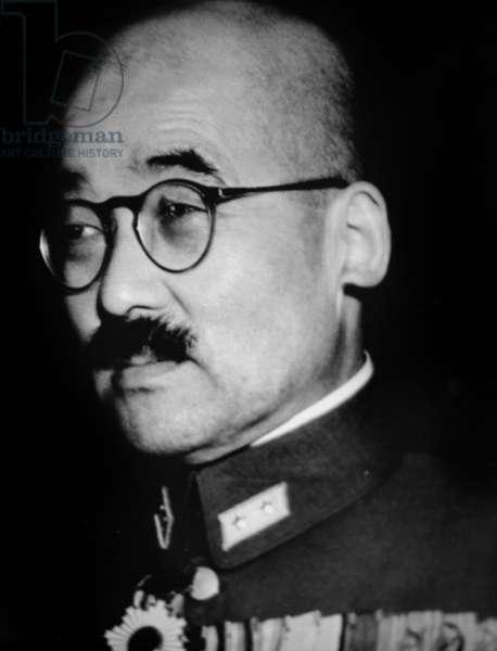 general Hideki Tojo (1884-1948) japanese prime minister responsible for attack of Pearl Harbor in december 1941 (war of the Pacific)