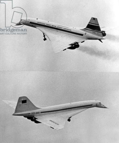 Commercial supersonic planes, 1973 : Concorde 001 (top, French-english) and Tupolev 144 (bottom, russian)