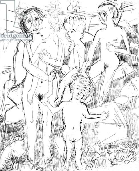 nudists : family at the bath, engraving by german expressionist painter and sculptor Ernst Ludwig Kirchner (1880-1938) c. 1914