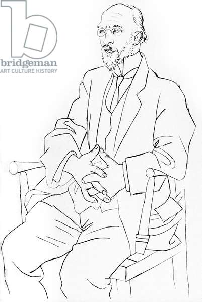 French composer Erik Satie (1866-1925) drawing by Pablo Picasso may 19, 1920