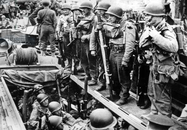American soldiers aboard an LCA (Landing Craft Assault) in south of England before departure for Normandy Landings of june 6, 1944
